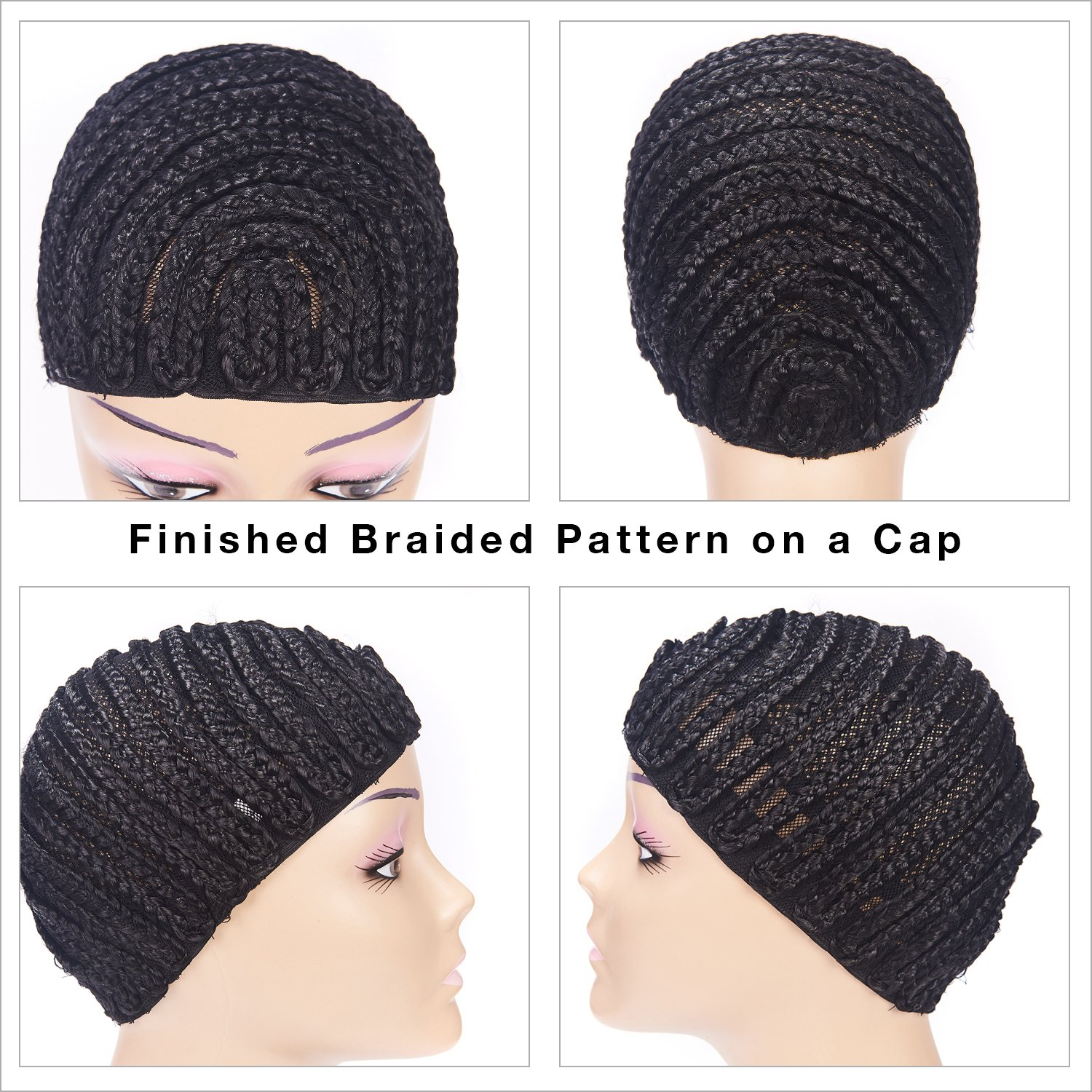 Clip in Braided Wig Caps Crochet Cornrow Cap For Easier Sew In Cap for Making Wigs Adjustable Crochet Wig Cap with 1 Free Hook Needle (L) by XFX Hair (Image #6)