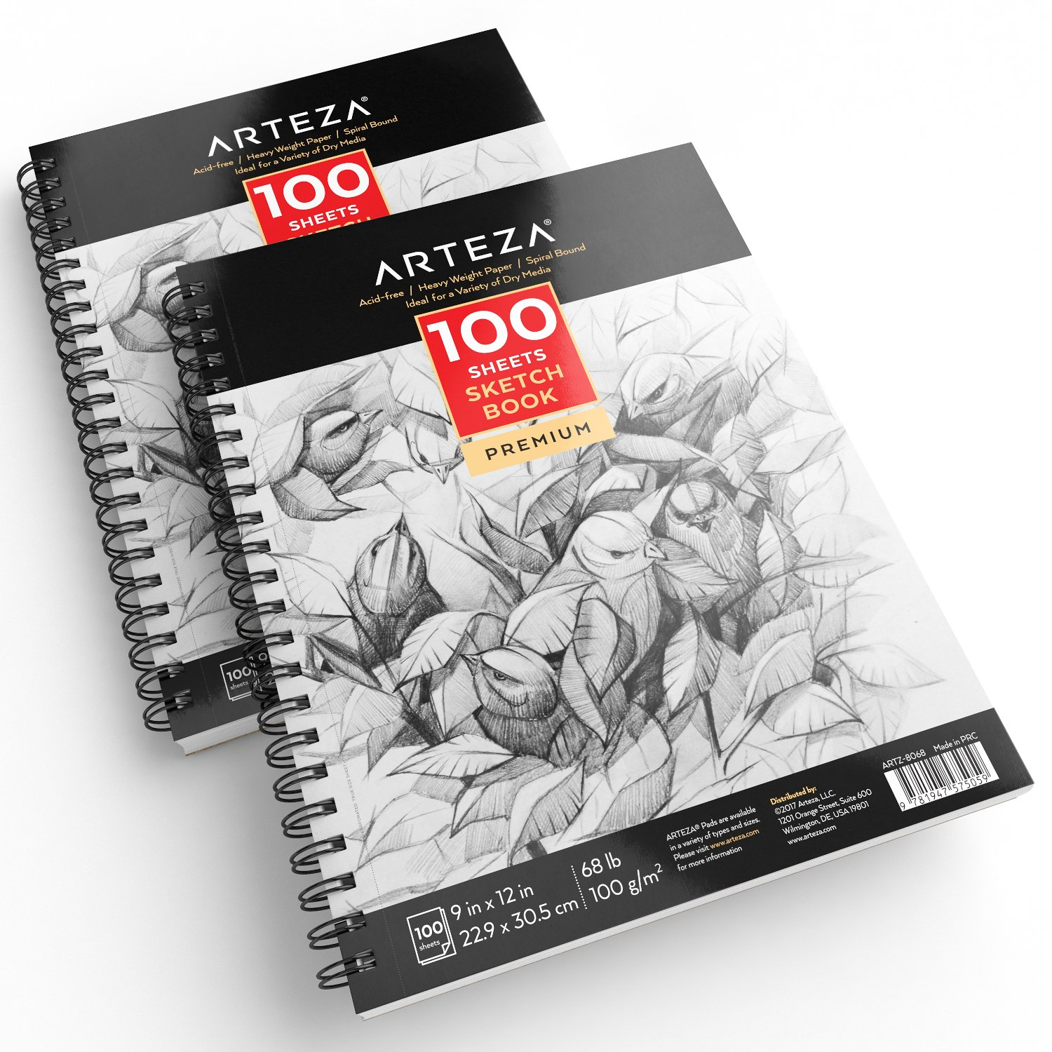ARTEZA 9X12'' Sketch Book, Pack of 2, 200 Sheets (68 lb/100gsm), Spiral Bound Artist Sketch Pad, 100 Sheets Each, Durable Acid Free Drawing Paper, Ideal for Kids & Adults, Bright White