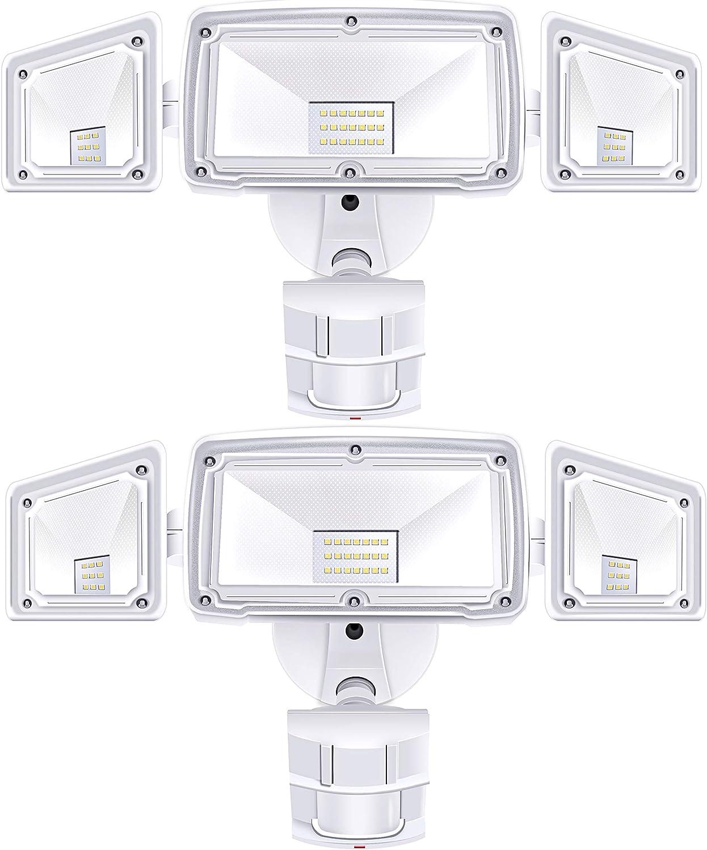 2 Pack 3 Head LED Security Lights Motion Outdoor Motion Sensor Light Outdoor 40W 3500 Lumens 6000k Waterproof IP65 ETL Motion Sensor Flood Light Exterior Security Light led