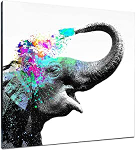 Large Elephant Canvas Wall Art Decorative Impress Animal Happy Cheery Poster Print Modern Wall Decor Artwork Victory African Picture Framed Painting for Glam Living Room Office Master Wall Decor Ready Hang (40X40)