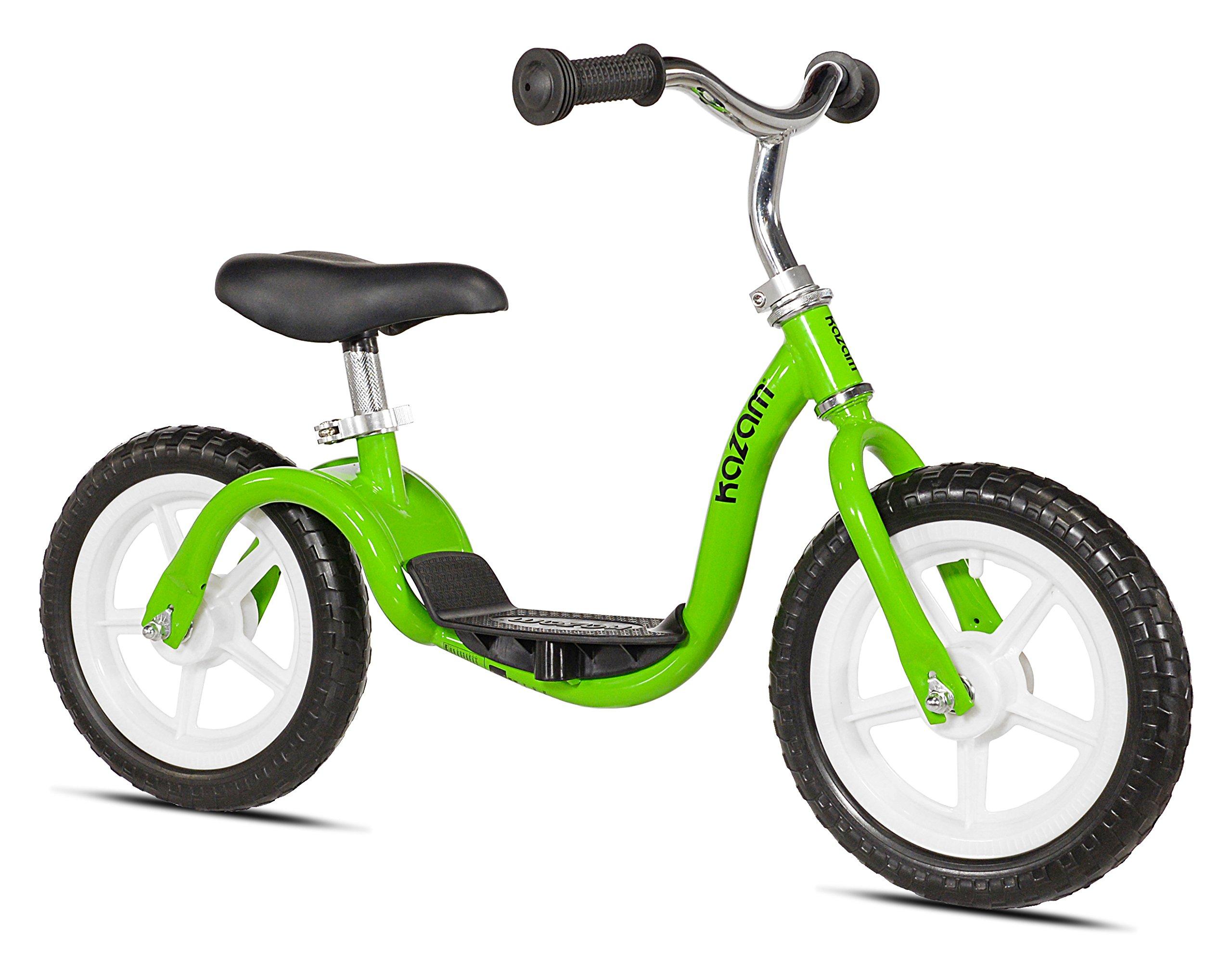 KaZAM v2e No Pedal Balance Bike, 12-Inch, Green