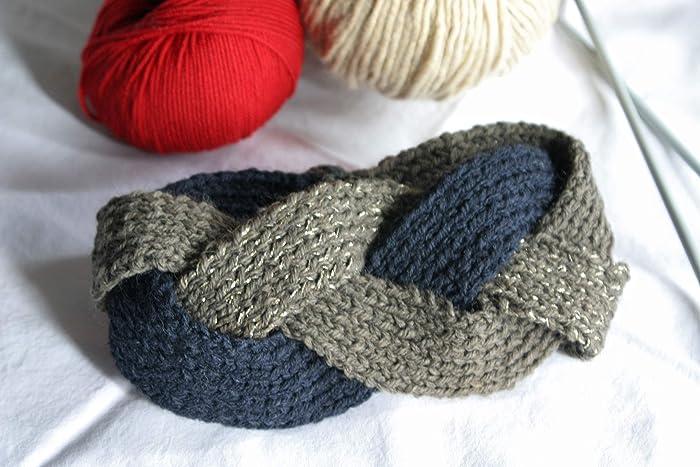 Fascia fatta a mano. Fascia in LANA e LUREX realizzata in maglia ai ferri. dc2ab5135ee5