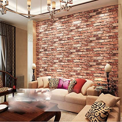 . QIHANG Red Brick Wall Modern Wallpaper Textured Bricks PVC Wallpaper 0 53mx  10m 5 3
