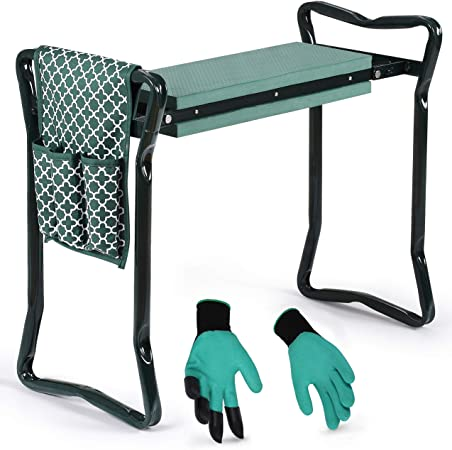 Garden Kneeler And Seat - Protects Your Knees, Clothes From Dirt & Grass Stains - Bench Comes With A Free Tool Pouch!