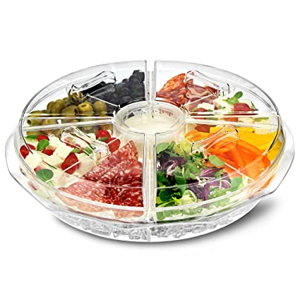Sobre Hielo 8 Sección Bandeja para aperitivos – hielo congelado compartir plato con Dip taza y