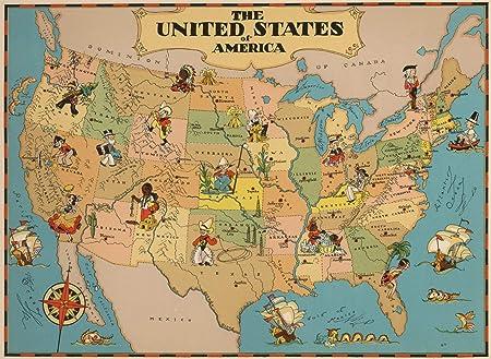 LTpintu Madera Puzzle 1000 Piezas Mapa de Dibujos Animados Estados Unidos DE America Adultos Niños Jigsaw Puzzle Ocio Toys Clásico Juego Regalo: Amazon.es: Hogar