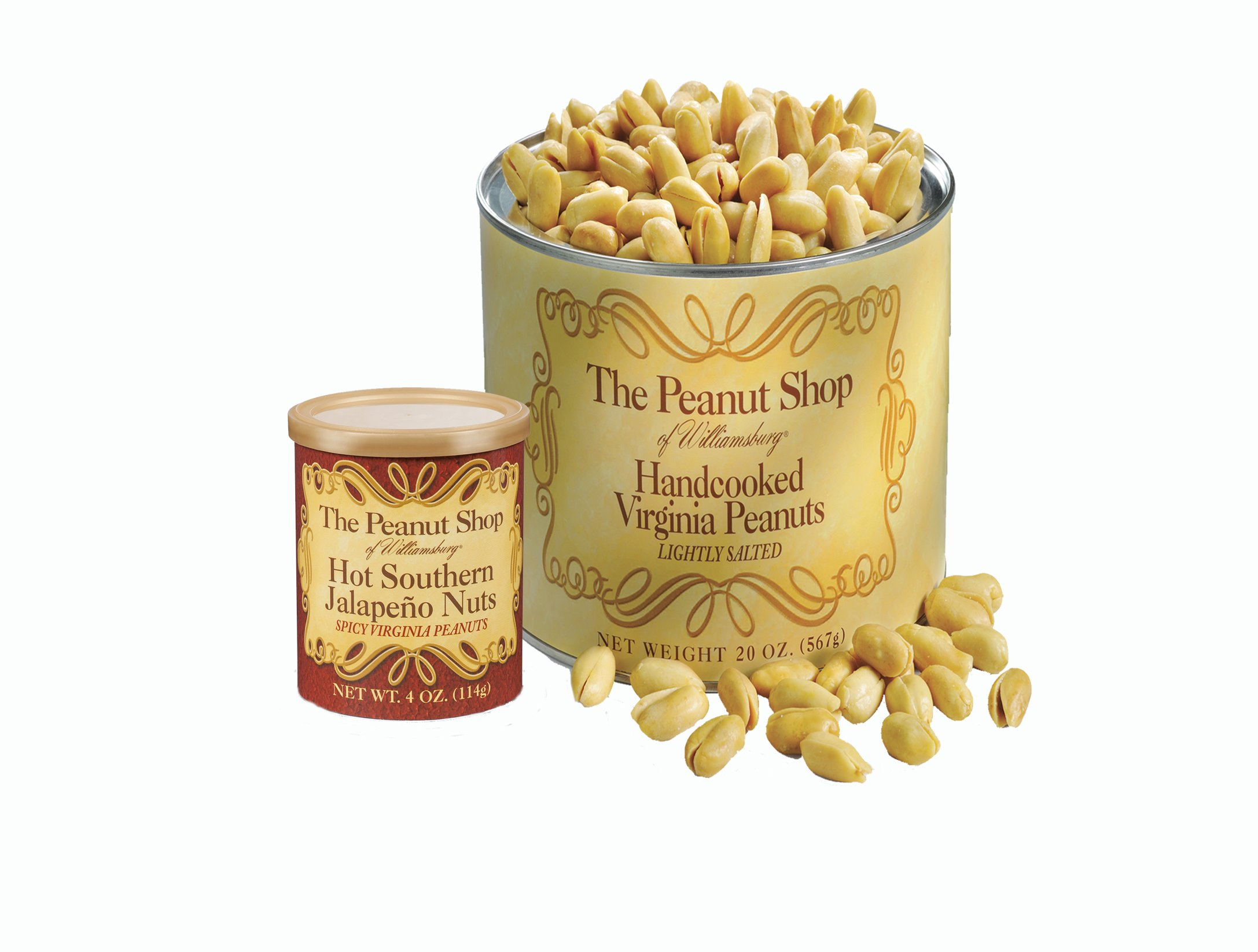 The Peanut Shop of Williamsburg Handcooked Virginia Peanuts, Lightly Salted, 20 Ounce & Hot Southern Jalapeno, 4 Ounce
