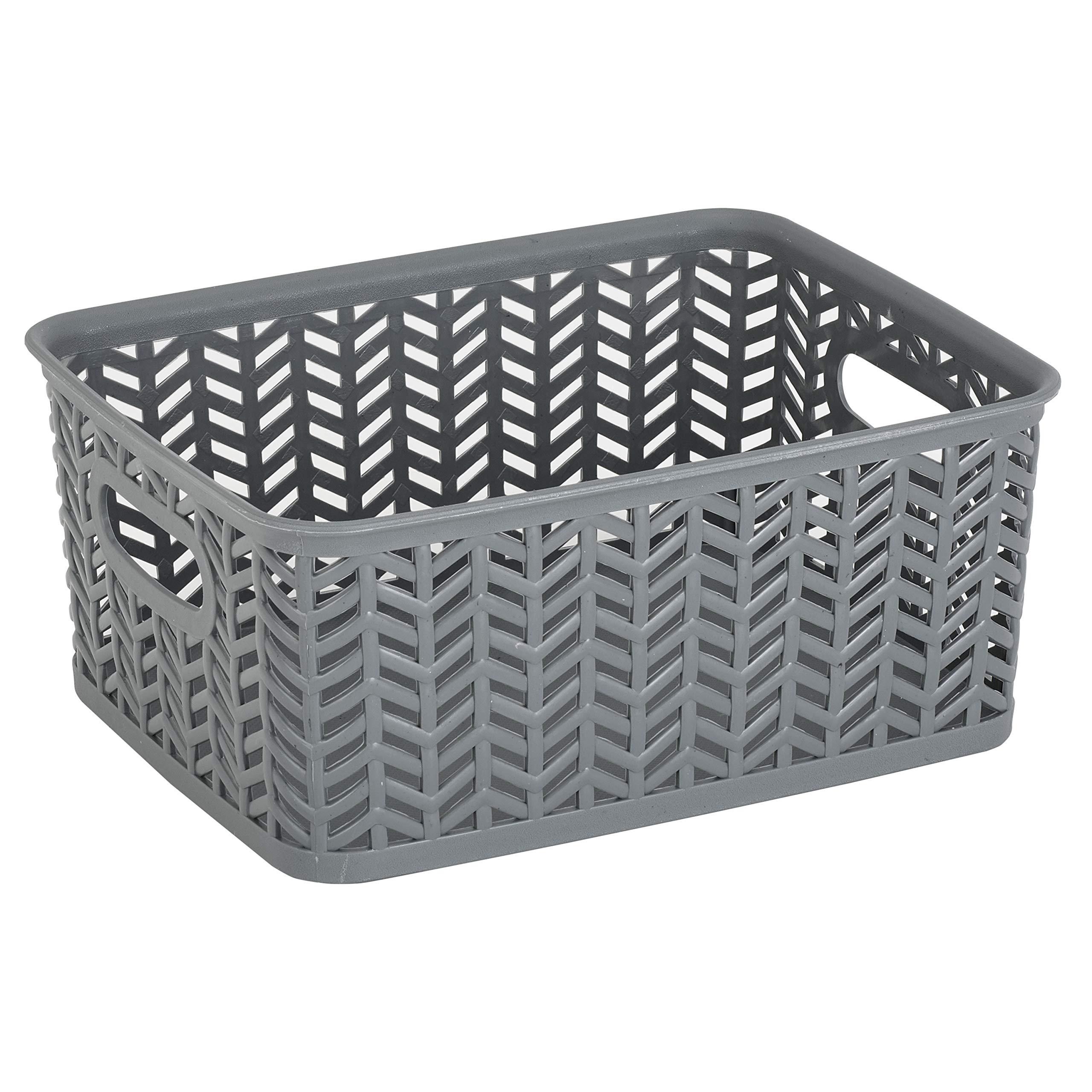 Simplify SmallHerringbone Bin in Grey Storage Basket