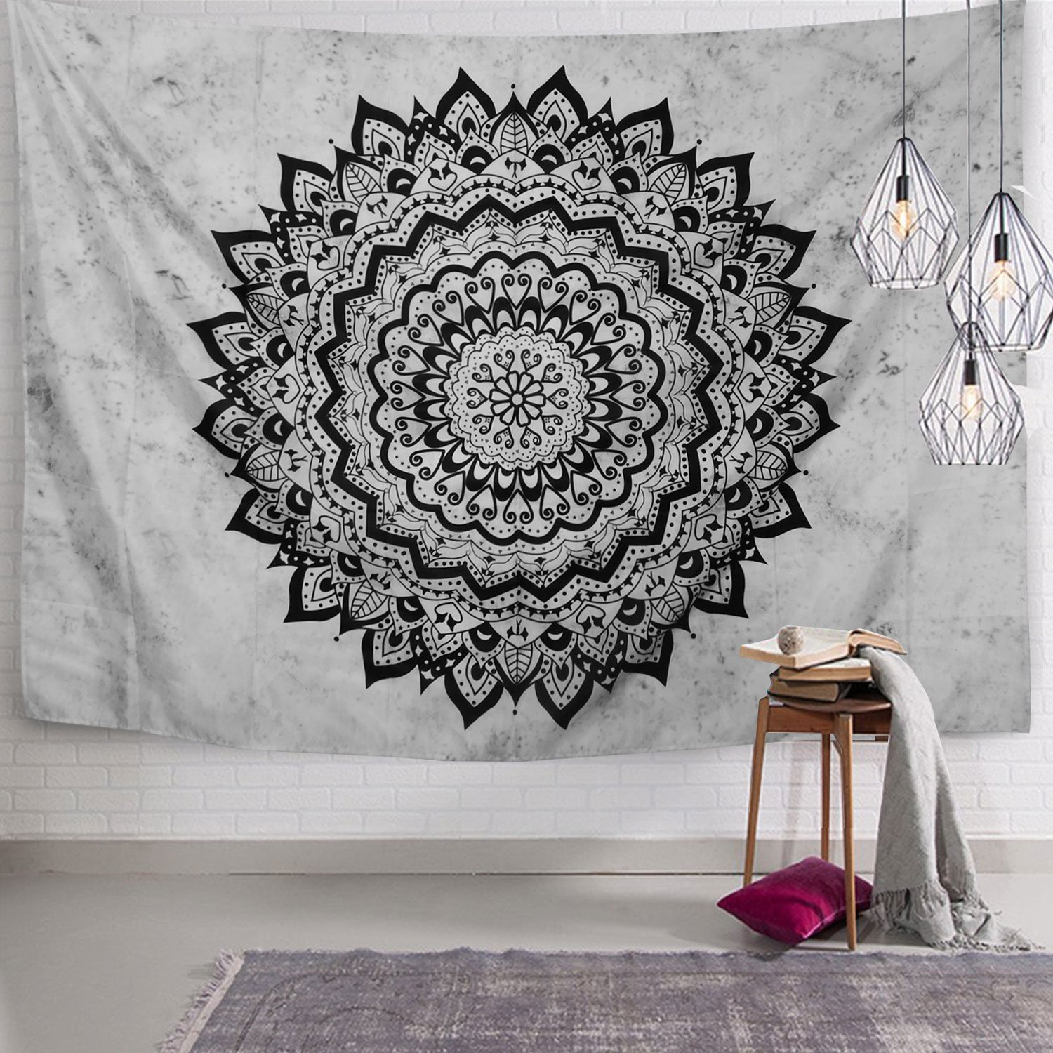Sunm boutique Indian Mandala Tapestry Wall Hanging Hippie Bohemian Flower Psychedelic Tapestries Home Decor