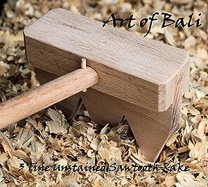 "Art of Bali 36"" 4 Tine Unstained Saw Tooth Zen Garden Rake – Art of Bali Original"