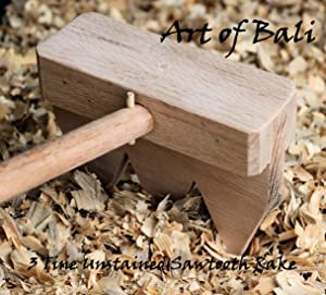 "Art of Bali 48"" 3 Tine Unstained Saw Tooth Zen Garden Rake – Art of Bali Original"
