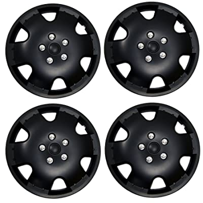TuningPros WSC3-720B16 4pcs Set Snap-On Type (Pop-On) 16-Inches Matte Black Hubcaps Wheel Cover: Automotive