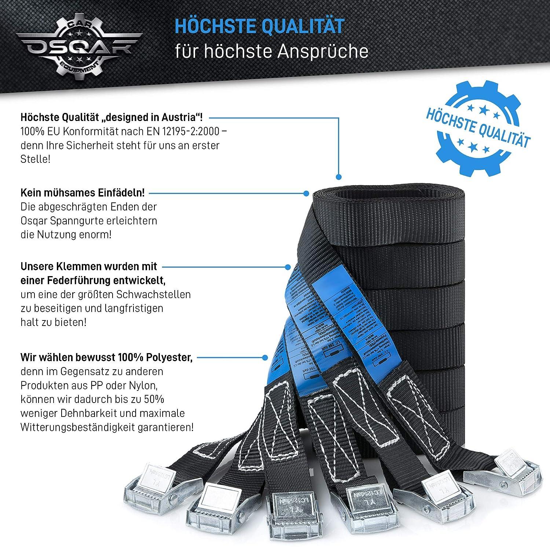 Correa tensora OSQAR/® de 2,5 m Correas de amarre con extrema durabilidad gracias a cierres de sujeci/ón galvanizados y correas de poli/éster OQC 6 unidades // 250 kg // incluye Incluye bolsa de almacenamiento M/áxima calidad seg/&uac