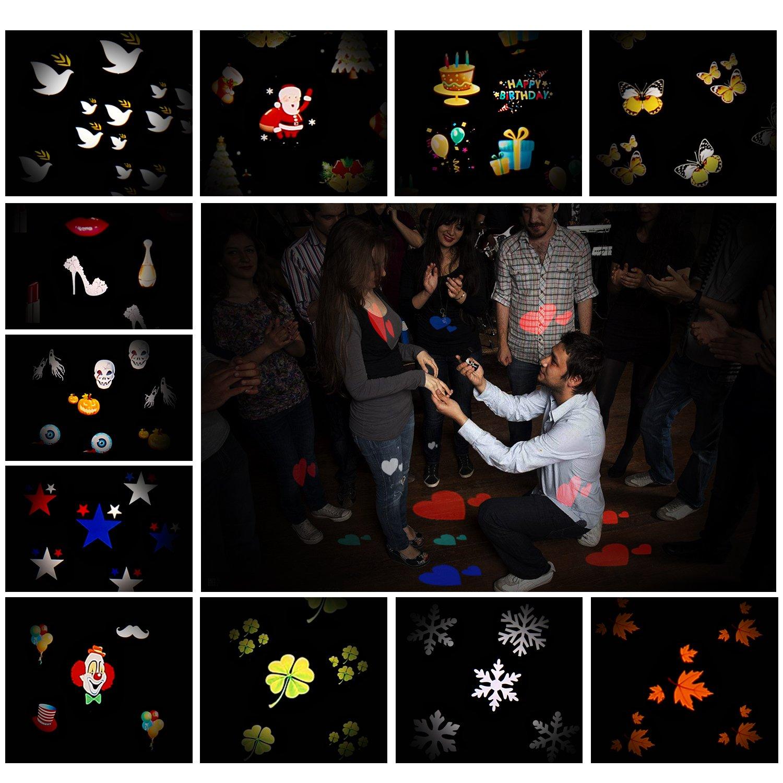 MEIKEE LED Lichteffekt Dekoration Lichter Wasserdichte Projektionslampe 12 Austauschbaren Muster f/ür Weihnachten Thanksgiving Day Kind Geburtstag Partei Senden Sie /Überraschung Projektor Licht