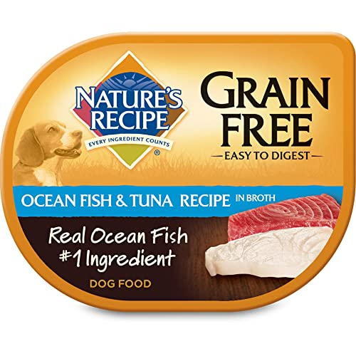 Nature s Recipe Wet Dog Food in Broth, Ocean Fish Tuna Recipe, 2.75 Ounce Cup Pack of 12 , Grain Free