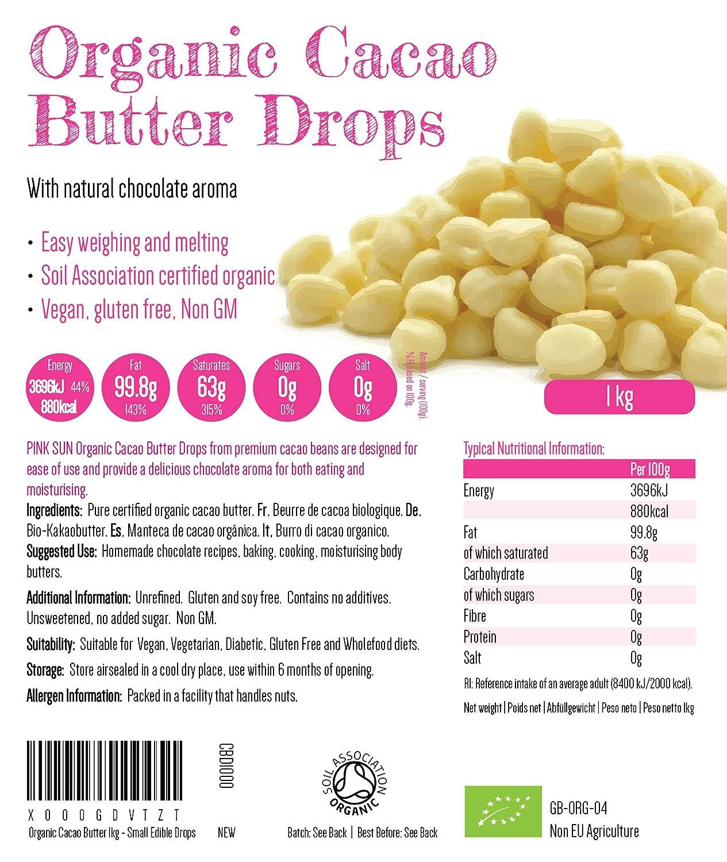 PINK SUN Manteca de Cacao Organica 500g Bio (o 1 kg) Pura Sin Refinar Alimentaria Gotas Comestible Sin Gluten Sin Azúcar Añadido Sin Lácteos Vegetariano ...