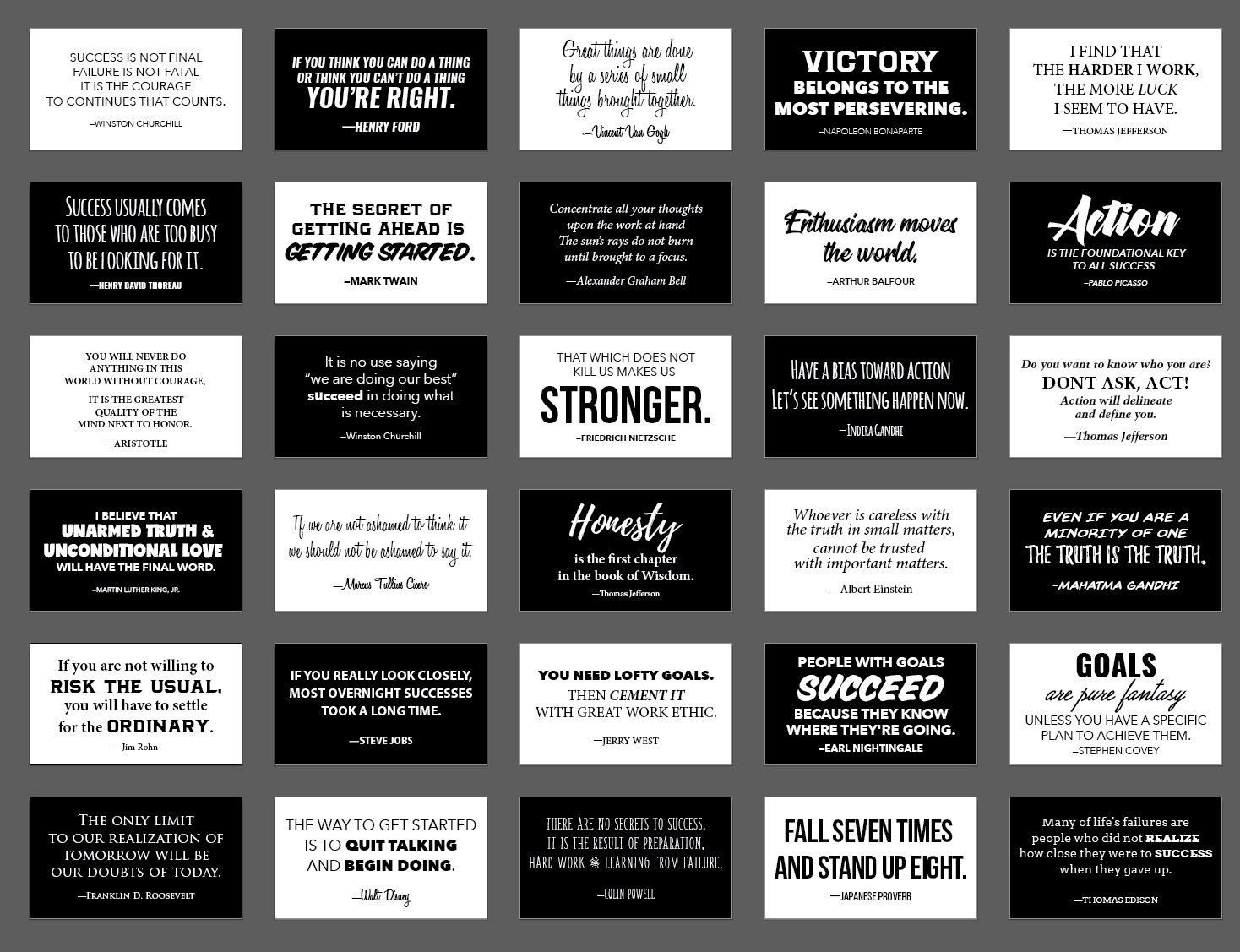 30 elegant black and white motivational quote cards business card size with gloss stock back of card is white for personal message inspirational notes