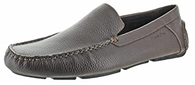 Mens Calvin Klein Menton Loafers Med Brown Tumbled Leather ZSE77205