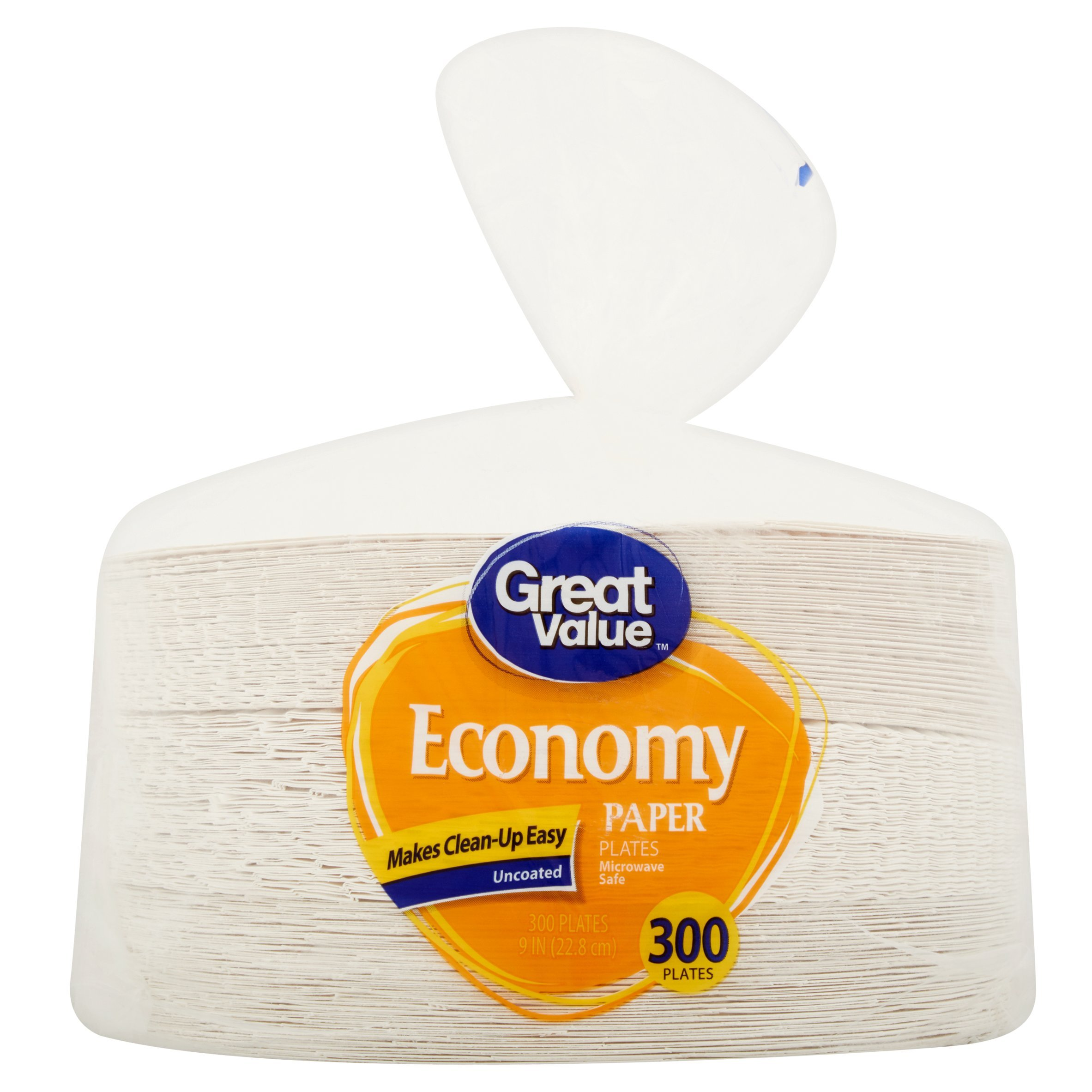 Great Value Economy Paper Plates, 9'', 300 Count