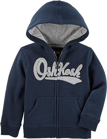 NEW OshKosh Logo Hoodie Boys Sweatshirt Jacket Navy Blue Striped 14