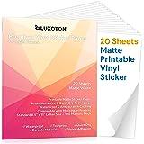 Premium Printable Vinyl Sticker Paper - 20 Matte White Waterproof Decal Paper Sheets for Inkjet Printer Self-Adhesive…