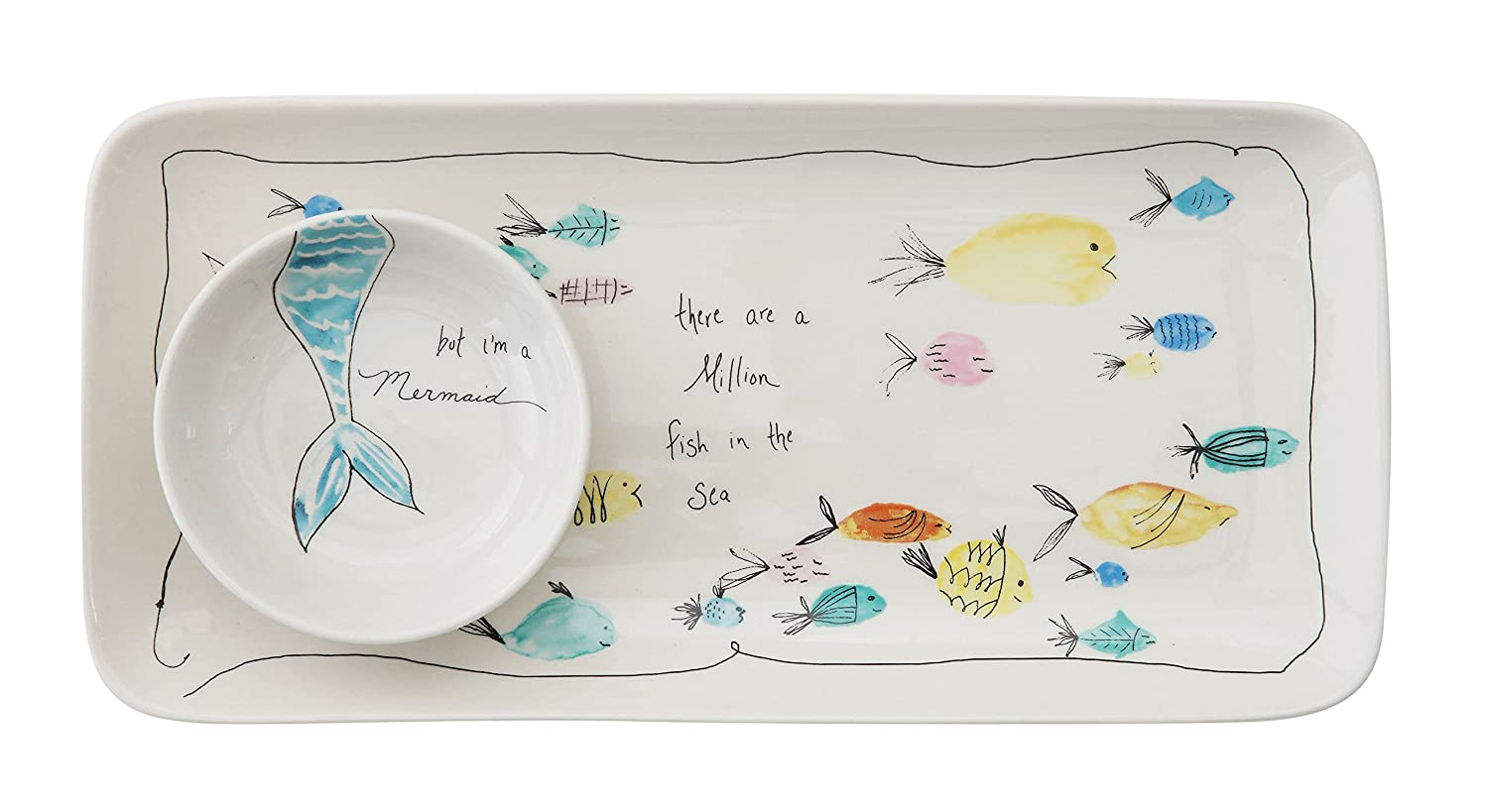 Creative Co-Op DA6857 Rectangle Stoneware Plate with Fish Images and Matching Bowl