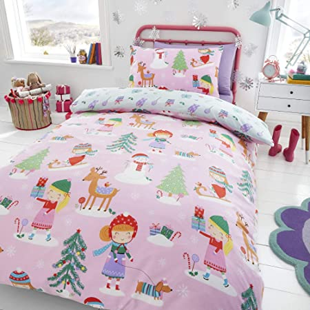 Happy Linen Company Girls Festive Christmas Tree Ice Skating Sausage Dog Pink Double Reversible Duvet Cover Bedding Set