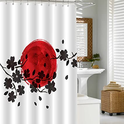 MitoVilla Japanese Shower Curtain Set With Hooks For Asian Themed Bathroom Decorations Traditional Japan Painting