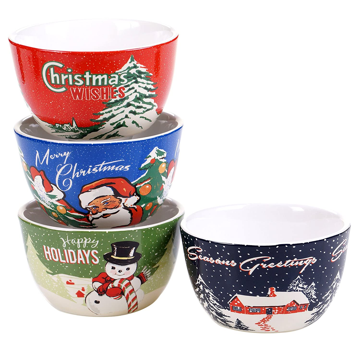 最高の Certified Internationalレトロクリスマスby Tina Ice Higginsのセット4 Certified Ice Cream Bowls Tina 5.25