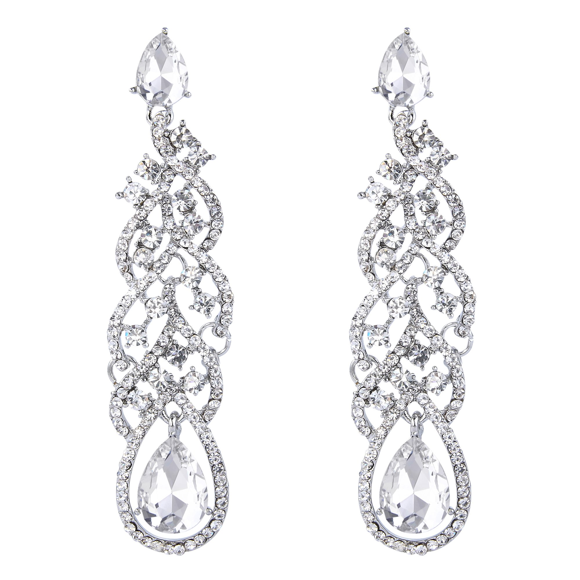 BriLove Silver-Tone Dangle Earrings for Women Fashion Vintage Inspired Crystal Teardrop Hollow Floral Leaf Cluster Earrings Clear