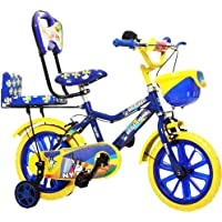 NY Bikes Little Champ 14T Double seat Kids Bicycle for 3 to 5 Years Age Group (Blue and Yellow)