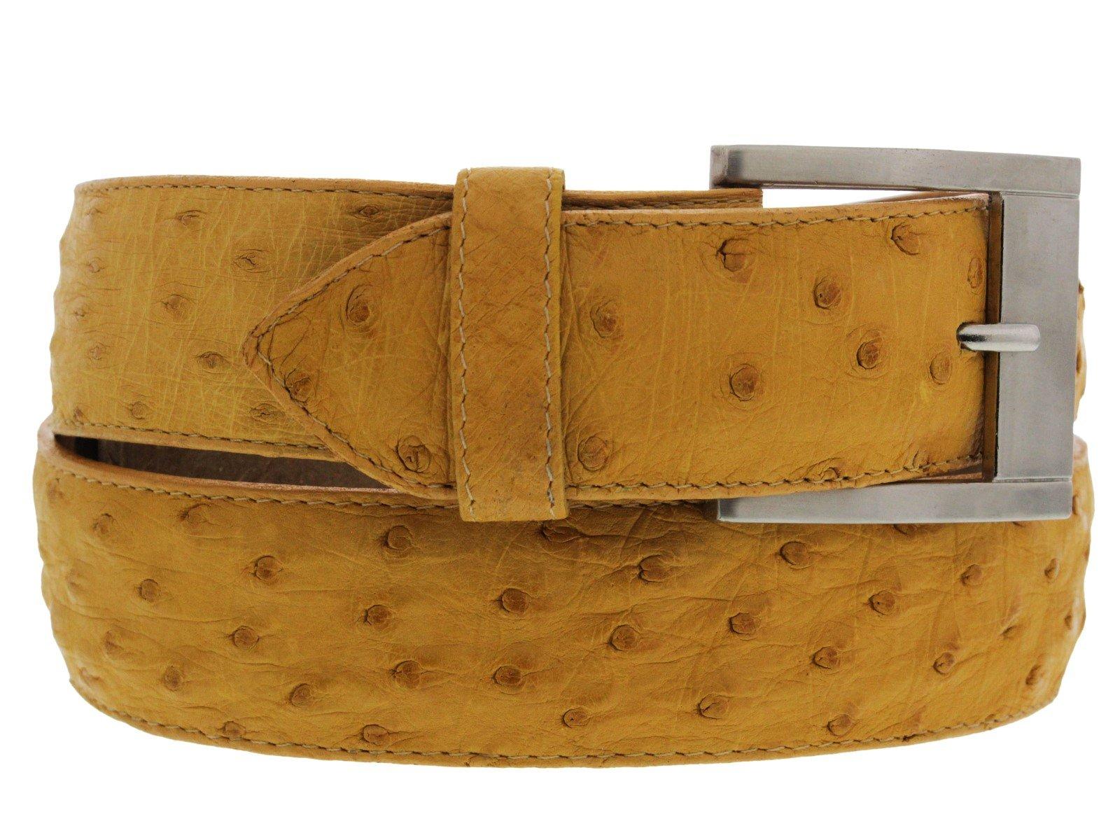 Cowboy Professional - Men's Buttercup Genuine Ostrich Quill Skin Cowboy Belt Silver 38