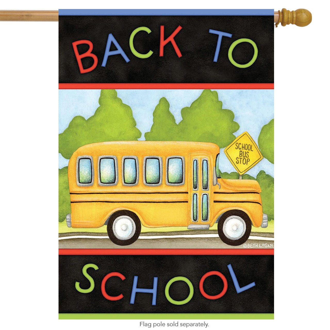 Back to School Bus Autumn House Flag Fall Briarwood Lane 28'' x 40''