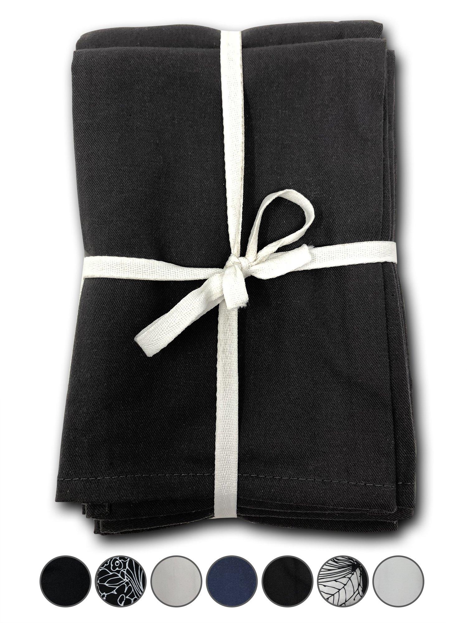 MoLi Products 100% Egyptian Cotton Cloth Dinner Napkins 12 Pack Lunch Linen - Decorative Reusable Fabric Table Linens Servilletas de Tela Restaurant Wedding Luncheon Napkin (Gray Grey)
