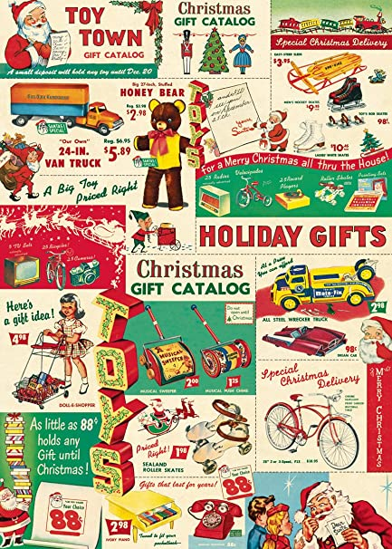 Christmas Toy Catalogs By Mail.Cavallini Co Vintage Christmas Toys Decorative Decoupage Poster Wrapping Paper Sheet
