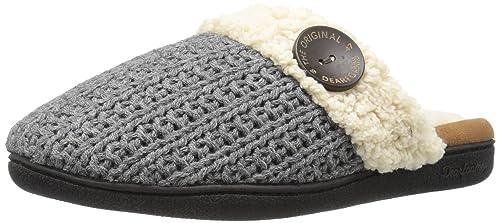 187070fcc8e71 Dearfoams Women's Sweater Knit Closed Toe Scuff Slipper, Dark Heather Grey,  X-Large