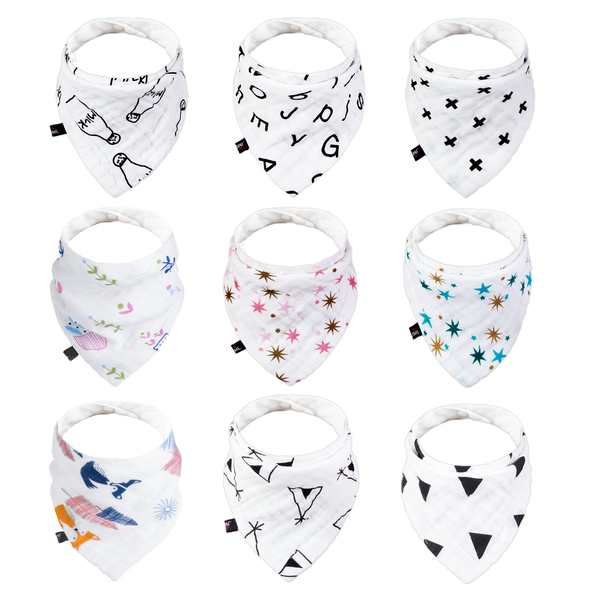 Baby Drool Bibs, JML Bandana Cotton Bib Set 9 Pack - Soothingly Soft Chafe-Free Comfort and Hypoallergenic and Absorbent, Adjustable Snap for Babies & Toddlers (6-24 Months)