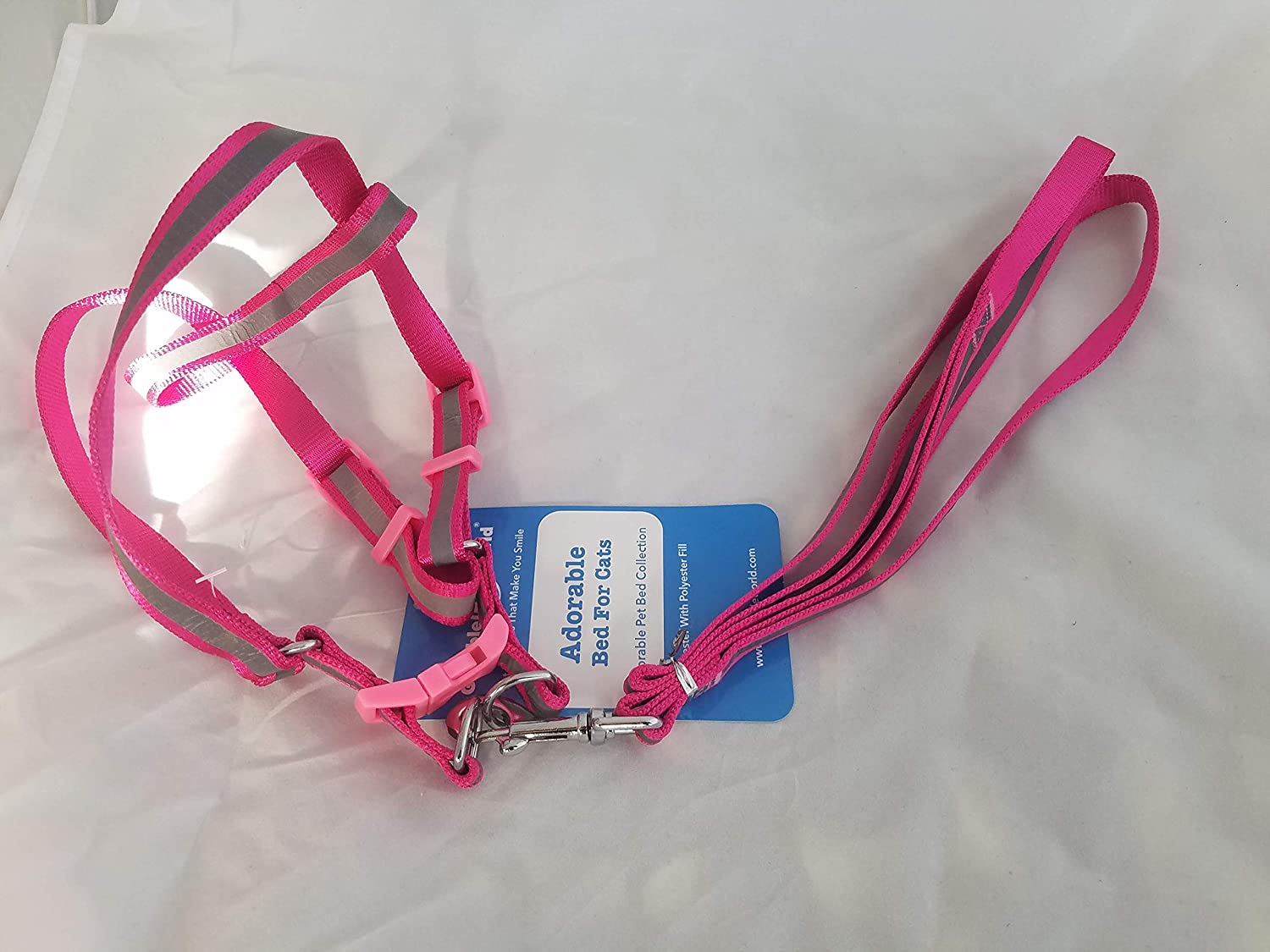 Harness Leash Dog Cats Adjustable No Choke Small to Medium Pink Silver