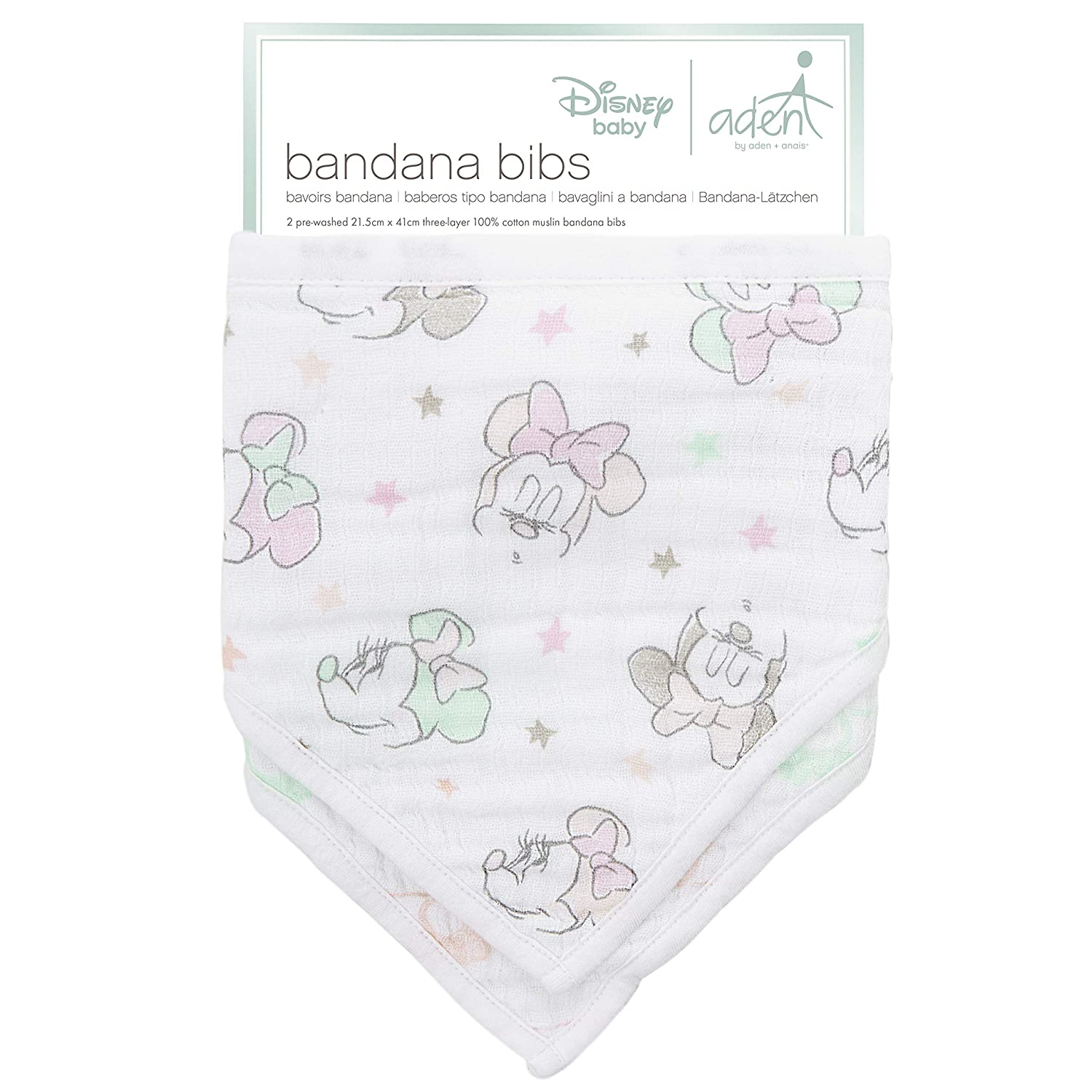 New Aden and Anais Disney 100/% Cotton Muslin Bandana Bibs 2 Bibs per Pack