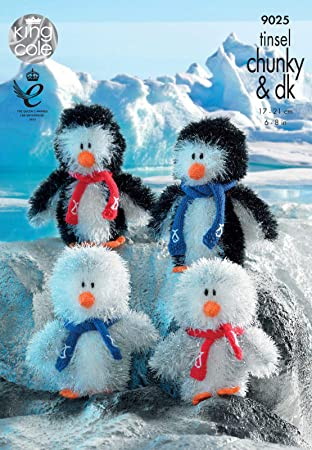 King Cole Penguin Family Toys Knitting Pattern 9025 Chunky Amazon