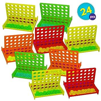Granel Mini Juegos de Mesa Conecta 4 en una fila - 24 piezas Por Paquete - 4 colores diferentes – Ideales Para Niños Fiestas Cumpleaños, Premios de la ...