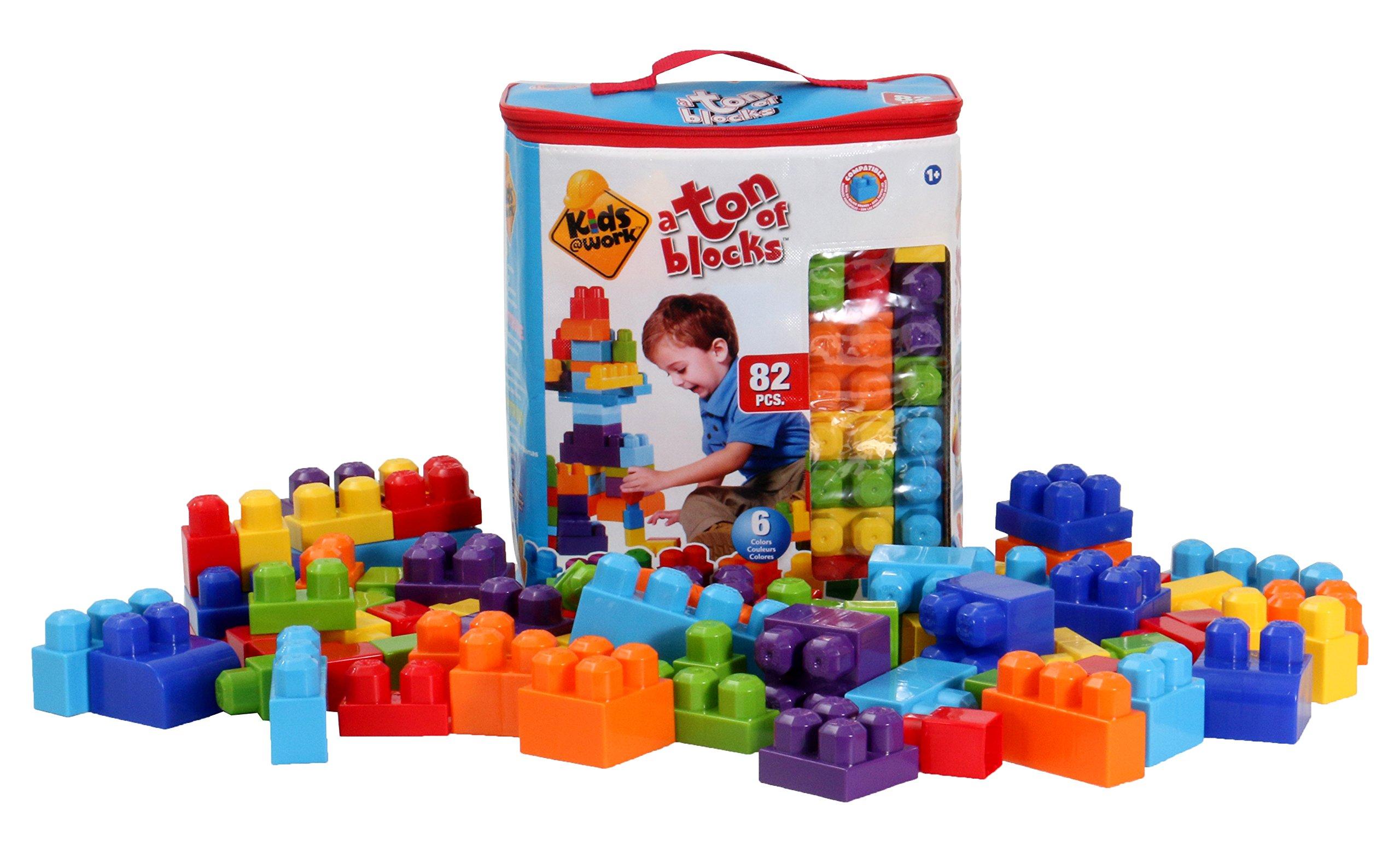Kids at Work 82 Piece Building Blocks with Storage Tote