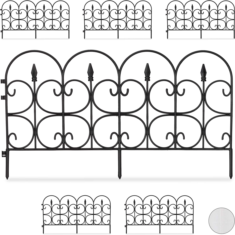 Relaxdays, Negro Set de Seis Vallas Decorativa para jardín, Altura de 30 cm, Longitud de 4 m
