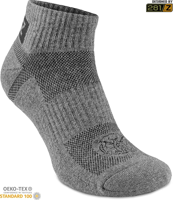 fd12d58cfbe1e4 Amazon.com  281Z Running Cushion Ankle Low Cut Socks - Athletic Hiking Sport  Workout (Dark Grey)  Clothing