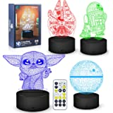 3D Illusion Star Wars Night Light Lamp, Star Wars Toys LED Night Light for Kids Room Decor,4 Pattern with Timing Function Gre