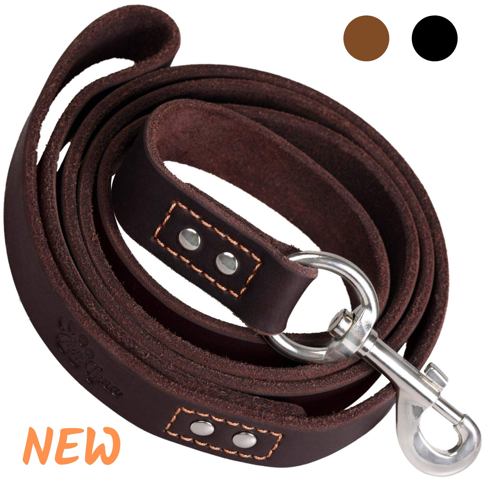 ADITYNA - Heavy Duty Leather Dog Leash 6 Foot - Strong and Soft Leather Leash for Extra Large, Large and Medium Dogs - Dog Training Leash (XL - 6 ft x 1 inch, Brown)