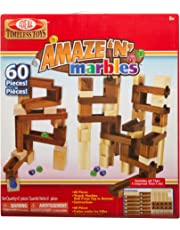 Ideal Amaze 'N' Marbles Classic Wood Construction Set with Sealed Storage Box, 60-Pieces
