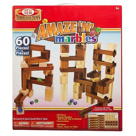 9140f20eafa Amazon.com  Ideal Amaze  N  Marbles 60 Piece Classic Wood Construction Set   Toys   Games