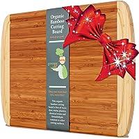 Greener Chef Extra Large Bamboo Organic Tagliere Con Talea New Crack-la tecnologia di prevenzione Legno Boards Per Cucina - Succo di Groove Per Carne