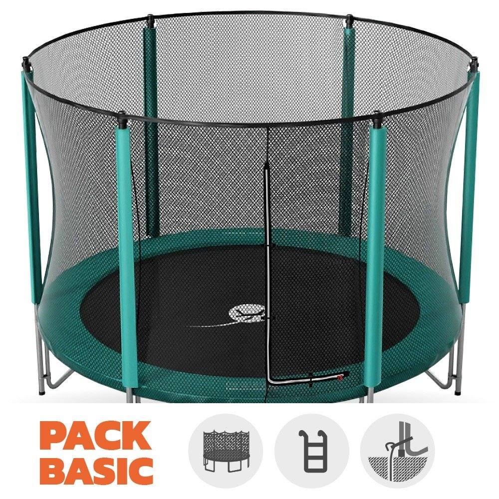 Pack Trampolin Basic jump' Up 460 mit Netz + Leiter + Kit Ankerstange